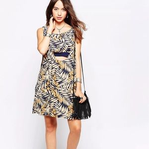 Free People Tropical 2-fer Navy Combo Print Dress